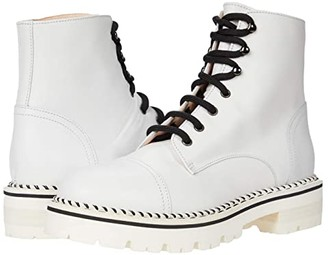 AGL Lace-Up Motor Bootie (White) Women's Shoes