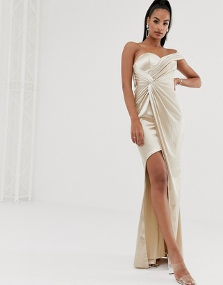 Bariano asymmetric liquid draped gown in gold