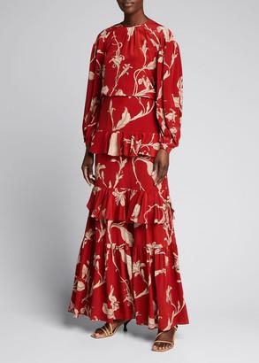 Johanna Ortiz Real Thinking Floral-Print Tiered Ruffle Maxi Skirt