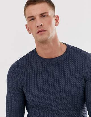 Asos Design DESIGN muscle fit lightweight cable sweater in denim blue