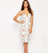 Asos Pretty Rose Bandeau Pencil Dress