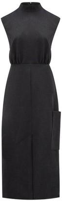 Ganni Laced-back Tailored Twill Dress - Dark Grey