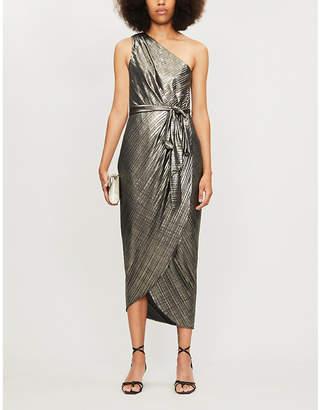 Ted Baker Gabria one-shoulder wrap-effect metallic crepe midi dress