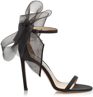 Jimmy Choo AVELINE 100 Black Sandal with Asymmetric Grosgrain Mesh Fascinator Bows