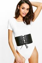 boohoo Lucy Detachable Corset Belt Bodysuit