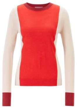 BOSS Slim-fit colour-block sweater in virgin wool