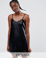 Monki Leather Look Cami Slip Dress