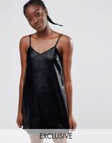 Monki Leather Look Cami Slip Dress