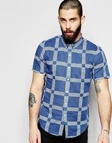 Farah Shirt with Printed Check Slim Fit Short Sleeves