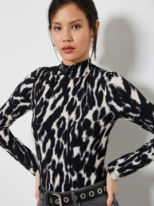Mint Velvet Grey Leopard Polo Neck Top
