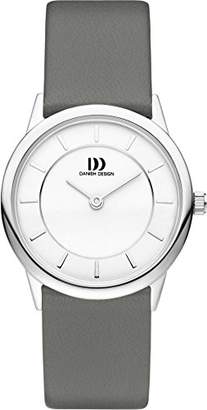 Danish Designs Danish Design Women's Quartz Watch with White Dial Analogue Display and Grey Leather Strap DZ120414