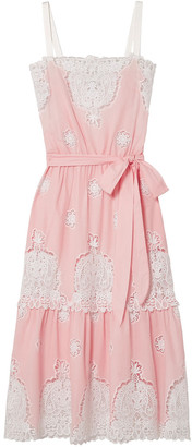 Miguelina Broderie Anglaise-paneled Satin-trimmed Cotton-voile Midi Dress