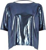 River Island Womens Metallic blue boxy strap back T-shirt