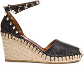 Valentino Rockstud Double Espadrille Leather Wedges
