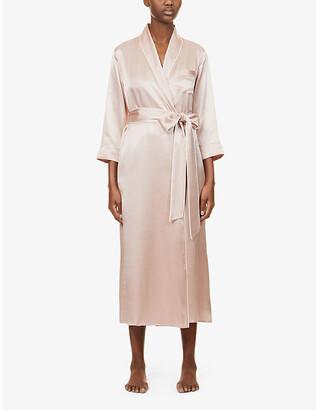 Olivia von Halle Astrid belted silk-satin robe