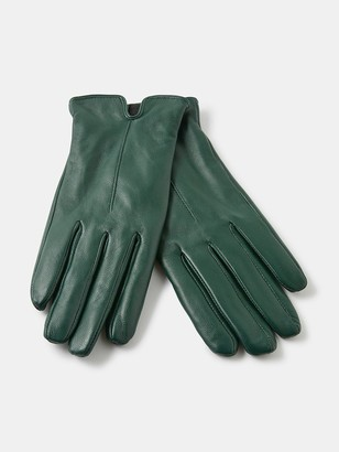 Accessorize Basic Leather Gloves - Green