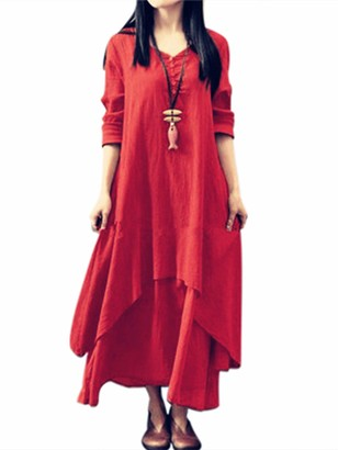 HUANG Women's Long Sleeve Irregular Boho Maxi Dress Cotton Linen Casual Gypsy Solid Color Loose Plus Size Beach Dresses XL Wine Red