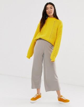 Monki cropped wide leg trousers with elastic waist in dark beige