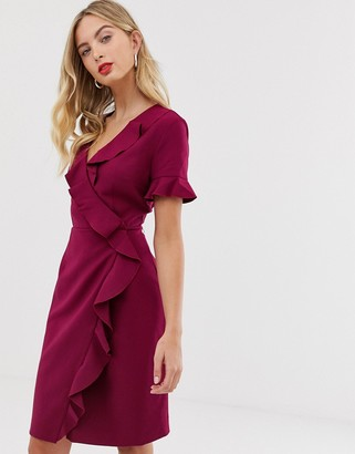 French Connection Alianor frill front pencil dress