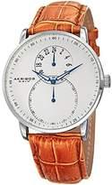 Akribos XXIV Men's AK847SSBR Dual Time Silver-Tone Watch with Brown Leather Strap