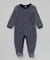 Kushies Navy Stripe Velour Footie - Infant