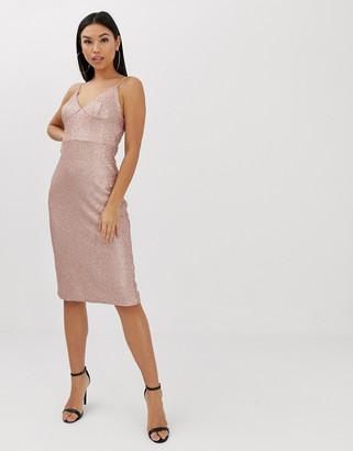 Club L London sequin cami midi dress in pink