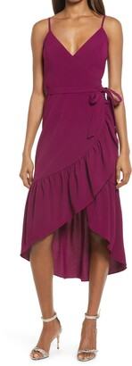 Dress the Population Delphine Crepe Wrap Midi Dress