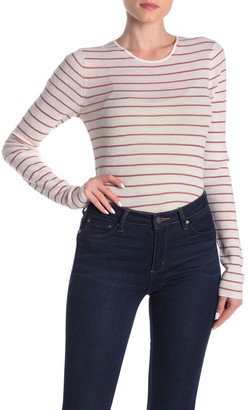 Vince Ribbed Knit Stripe Print Crew Neck Sweater