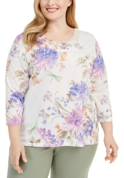 Alfred Dunner Plus Size Nantucket Printed Lace-Trim Top