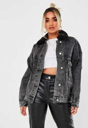 Missguided Petite Black 80'S Batwing Denim Jacket