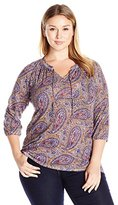 Lucky Brand Women's Plus Size Paisley Printed Top
