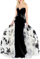 Mac Duggal Sweetheart Velvet Column Gown with Floral Organza Overskirt