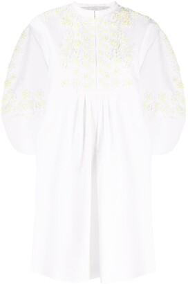Valentino Floral Embroidery Beaded Shirt Dress
