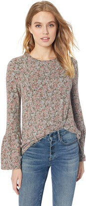 Lucky Brand Women's Printed Hacci Bell Sleeve Peasant TOP