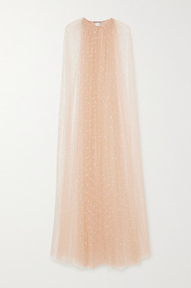 Monique Lhuillier Embroidered Tulle Cape - Sand