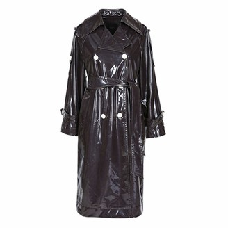 Aututer Long Waterproof Black Patent Leather Trench Coat Women's Double Breasted Rainbow Color Oversized Leather Coat 7XL Leather Jacket
