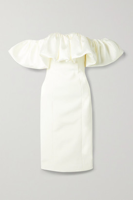 SOLACE London Raina Off-the-shoulder Ruffled Twill And Crepe Midi Dress - Ivory