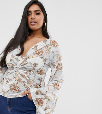 Koco & K Plus soft touch plunge front batwing sleeve top in mint baroque-Green