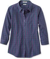 L.L. Bean Wrinkle-Free Pinpoint Oxford Shirt, Three-Quarter Sleeve Plaid