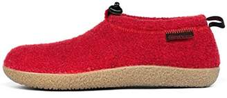 Giesswein Slipper Vent chilli 38 - Closed felt slippers, Warm unisex houseshoe, Tough anti-slip sole, Slippers with cord for men & women, Comfortable mules incl. interchangeable leather footbed inlays