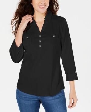 Karen Scott Woven 3/4-Sleeve Shirt, Created for Macy's