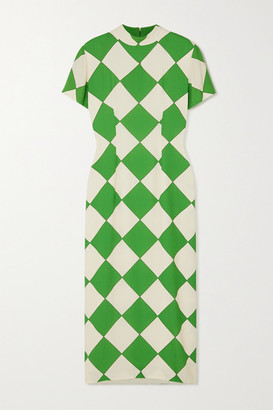 ROWEN ROSE Printed Crepe Midi Dress - Green