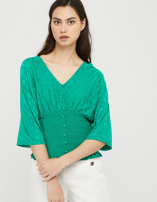 Under Armour Janet Jacquard Shirred Short Sleeve Top Green