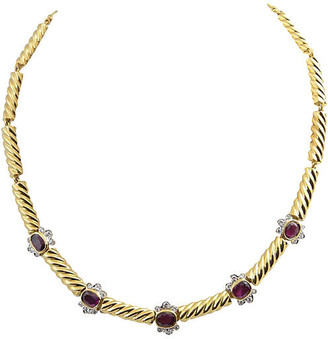 One Kings Lane Vintage Gold Ruby & Diamond Necklace - Owl's Roost Antiques
