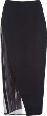 David Koma Tulle-Trimmed Stretch-Crepe Pencil Skirt
