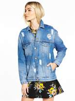Very Longer Length Distressed Denim Jacket