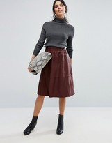 Selected Leather Midi Skirt