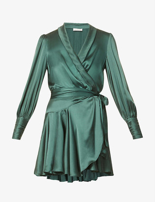 Zimmermann Ruffled silk-charmeuse mini wrap dress