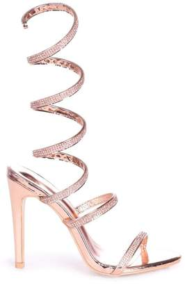 Linzi MARCIE - Rose Gold Structured Spiral Wrap Around Heel