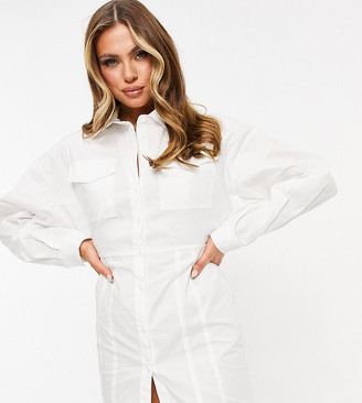Missy Empire Missyempire exclusive cut-out back detail button through shirt dress in white